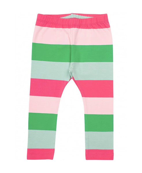 Danefae pink and green puravida stripe leggings