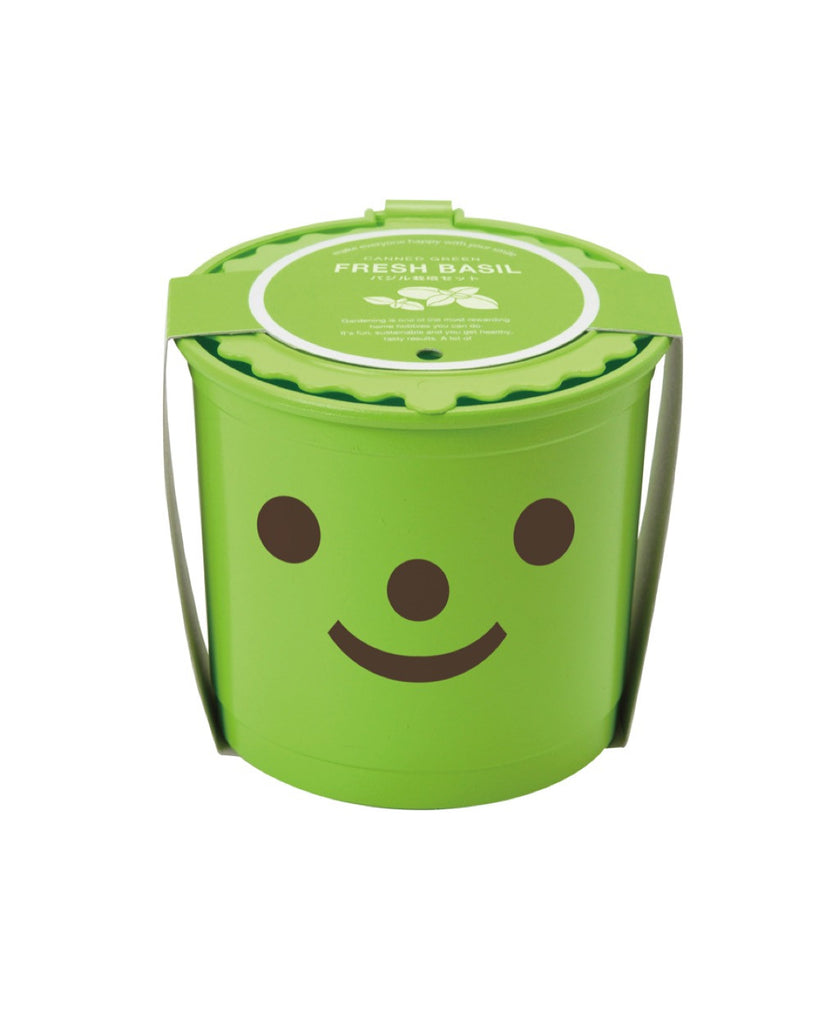 Smile & Smile happy face grow pot green / basil