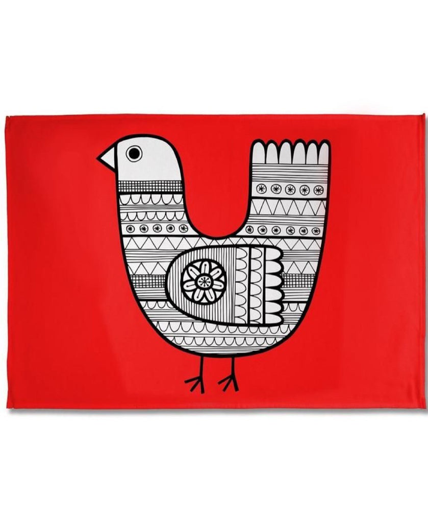 Jane Foster red chicken tea towel