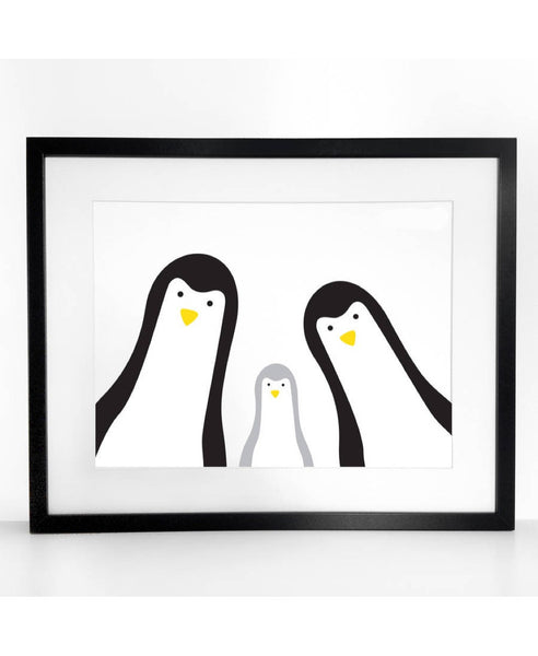 Heather Alstead 3 penguins family art print