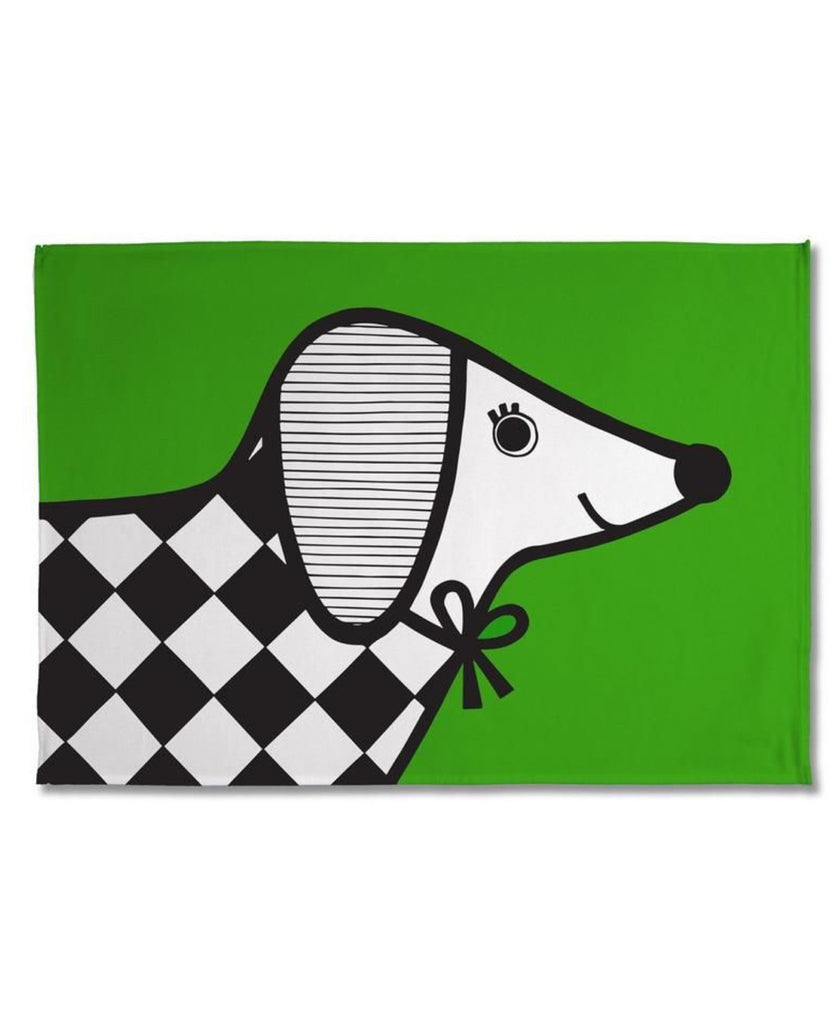 Jane Foster green sausage dog tea towel
