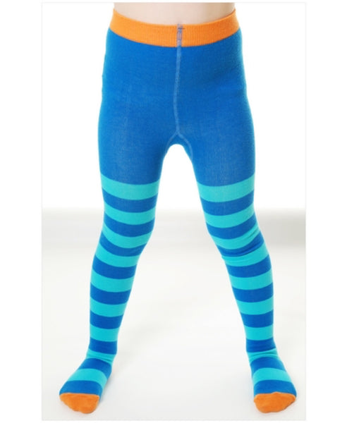 DUNS Sweden turquoise and blue stripe tights