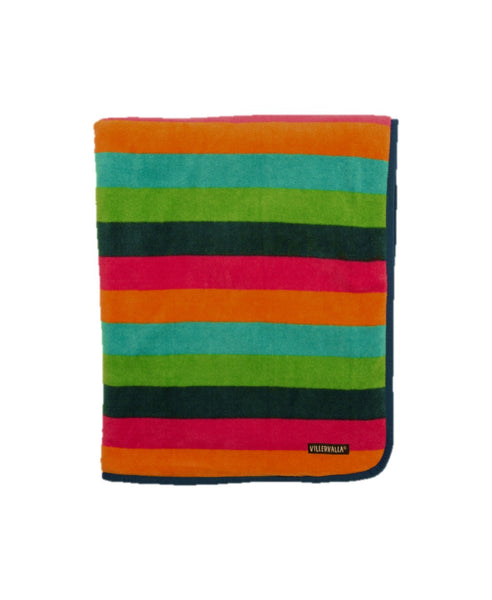 Villervalla multicolour unisex Vienna stripe fleece baby blanket