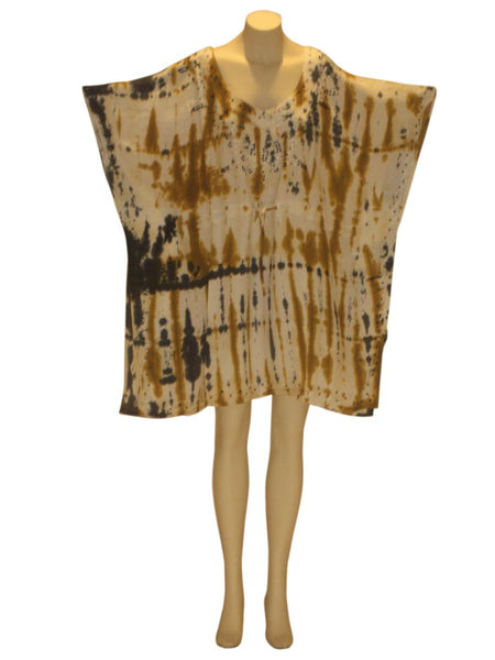 Dhari Tie-Dye Sequined Kaftan Caftan Tunic Top : Gold