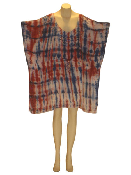 Dhari Tie-Dye Sequined Kaftan Caftan Tunic Top : Red