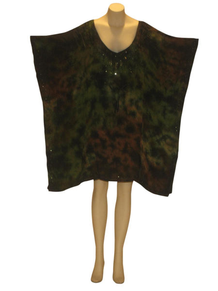 Marble Tie-Dye Sequined Kaftan Caftan Tunic Top : Green