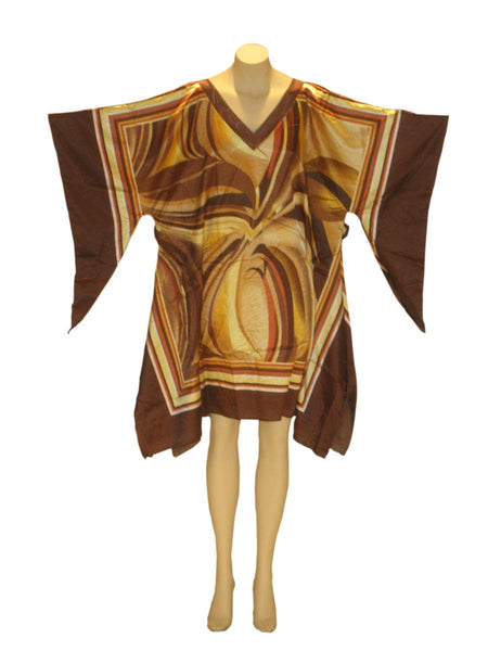 Shimmering Wave Dashiki Tunic Top: Brown
