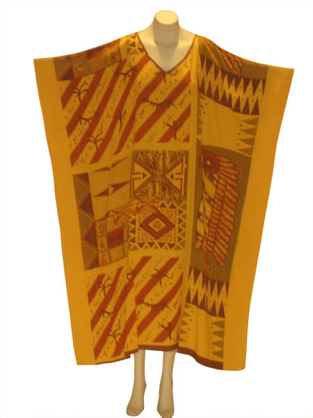 African Cultural Kaftan Caftan Dress: Orange