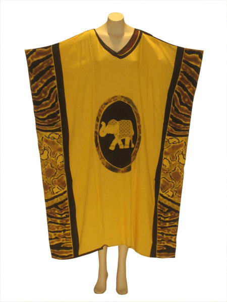 Majestic Elephant Kaftan Caftan Dress: Yellow