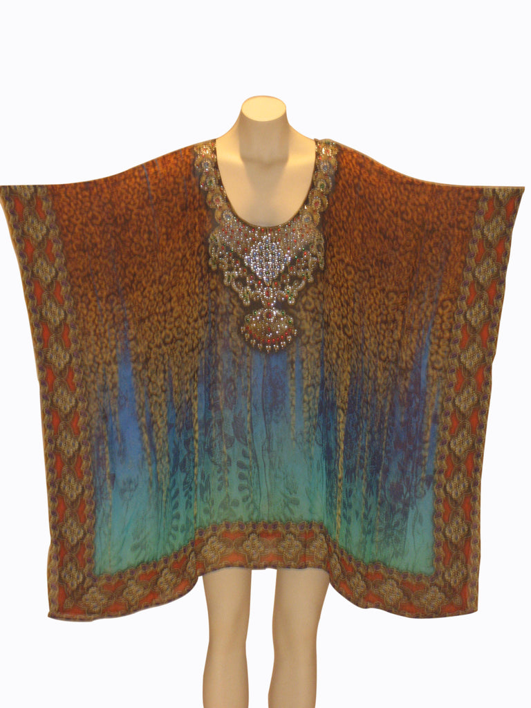 Embellished Kaftan Digital Print Design KF20135A