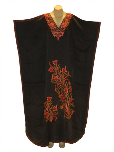Silk Kaftan Caftan Dress from Kashmir with Ari embroidered flowers : Black
