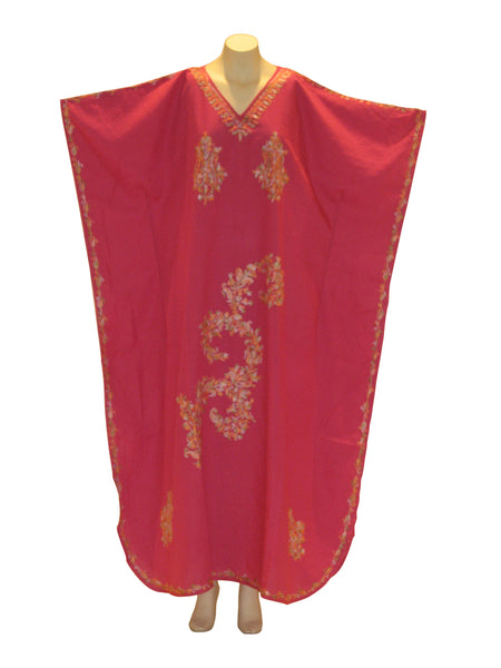 Kashmiri Kaftan Caftan with Ari embroidered flowers : Fuschia Pink