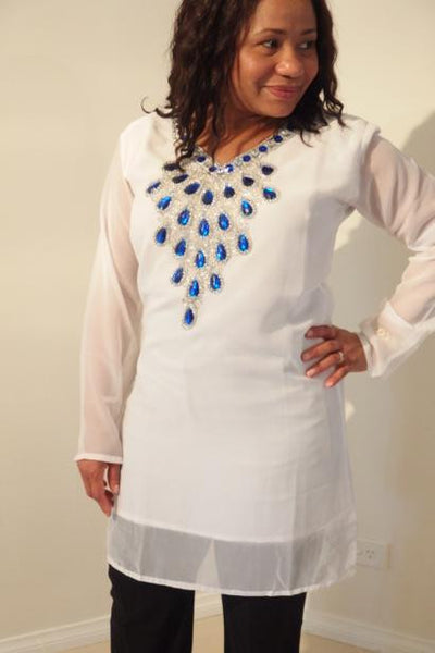 Andromeda Dubai Kaftan Tunic (White with Blue stones)