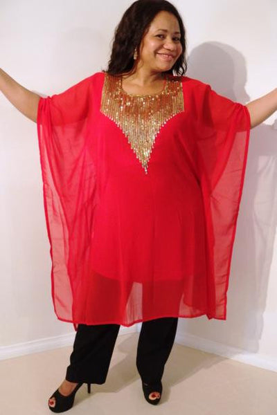Hera Dubai Kaftan Tunic (Ruby Red)