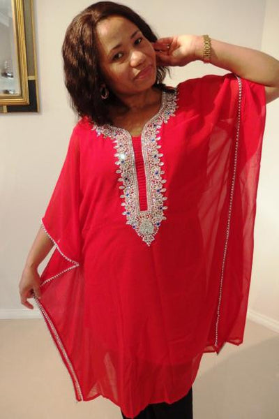 Selene Dubai Kaftan Tunic (Ruby Red)