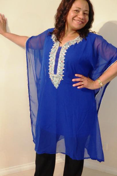Selene Dubai Kaftan Tunic (Royal Blue)