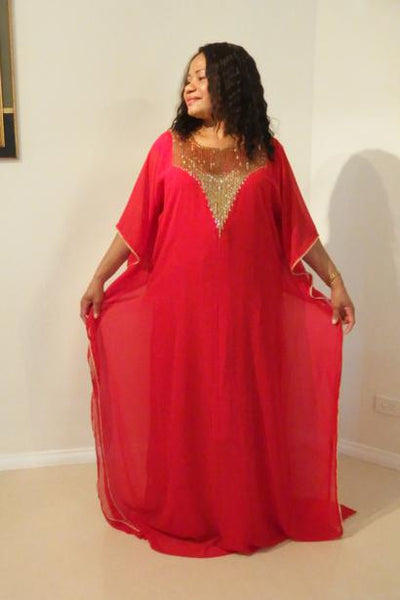 Hera Dubai Kaftan Long Dress (Ruby Red)