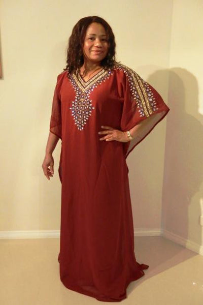 Ramona Dubai Kaftan Long Dress (Brown with purple & gold adornment)