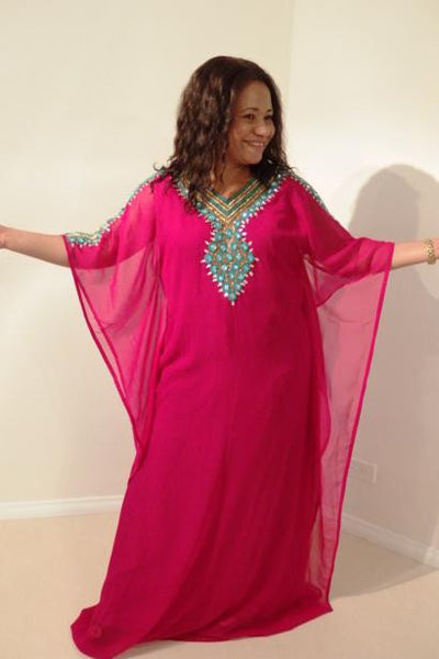 Ramona Dubai Kaftan Long Dress (Fucshia with turquoise & gold adornment)