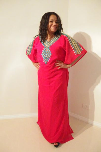 Ramona Dubai Kaftan Long Dress (Ruby Red with turquoise & gold adornment)