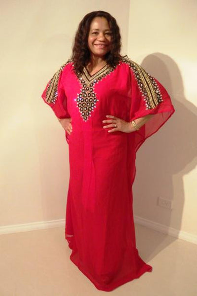 Ramona Dubai Kaftan Long Dress (Ruby Red with black & gold adornment)
