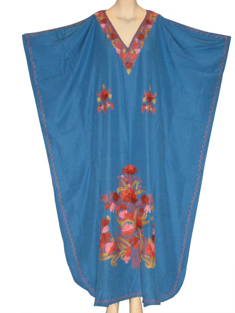 Kaftan Caftan Dress from Kashmir with Ari Embroidery : Robin-Egg Blue