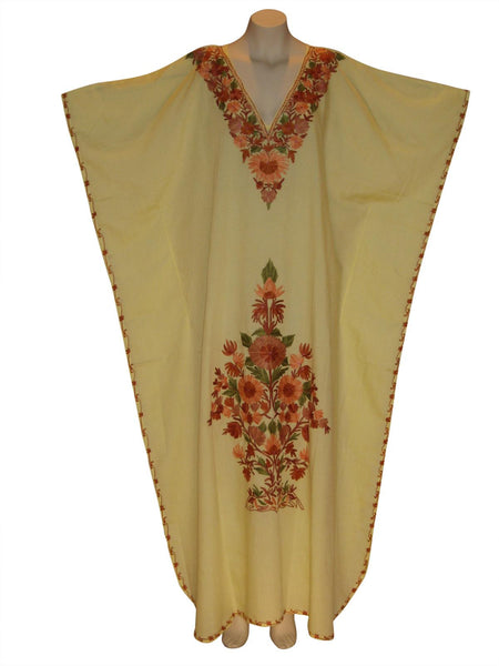Kaftan Caftan Dress from Kashmir with Ari Embroidery : Yellow