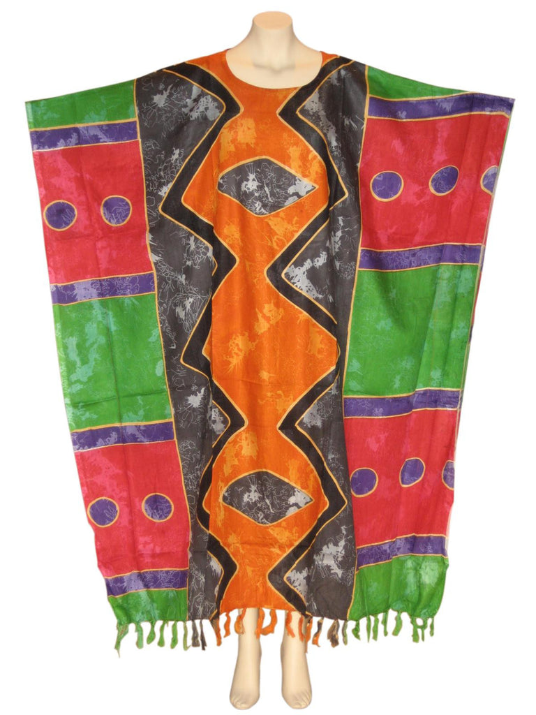 Afrocentric Royalty Kaftan Caftan Dress : Orange/Gray