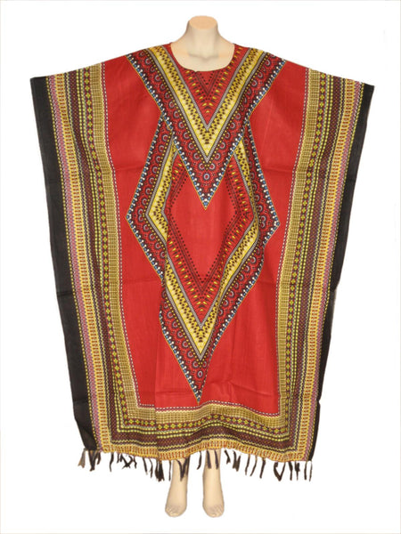 Cultural African Motif Kaftan Caftan Dress : Red