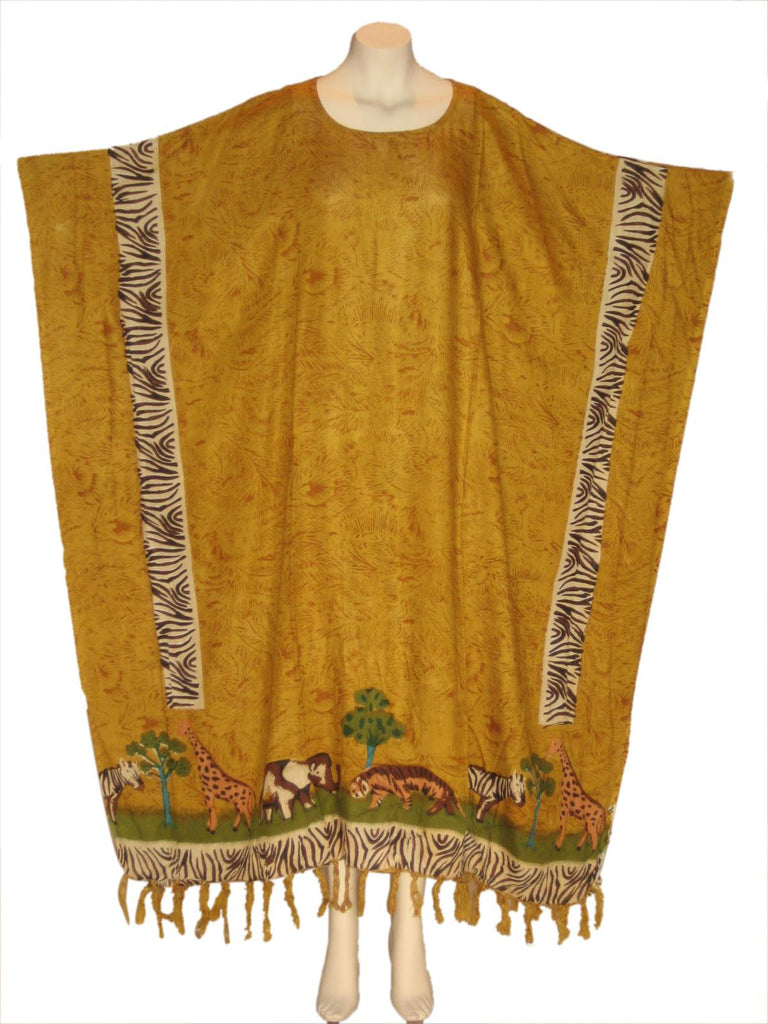 African Safari Animals Kaftan Caftan Dress : Mustard