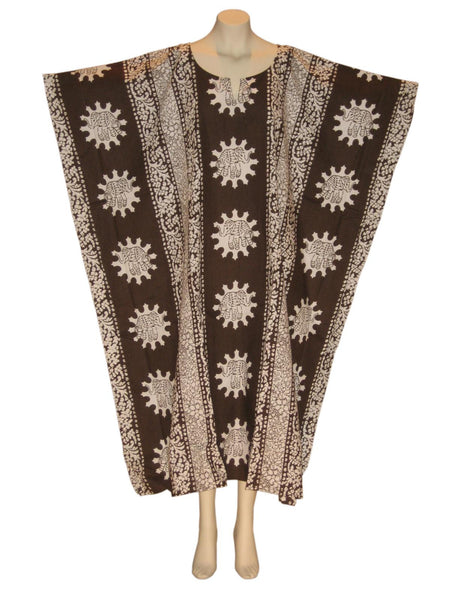 Elephant Kaftan Caftan Dress : Brown