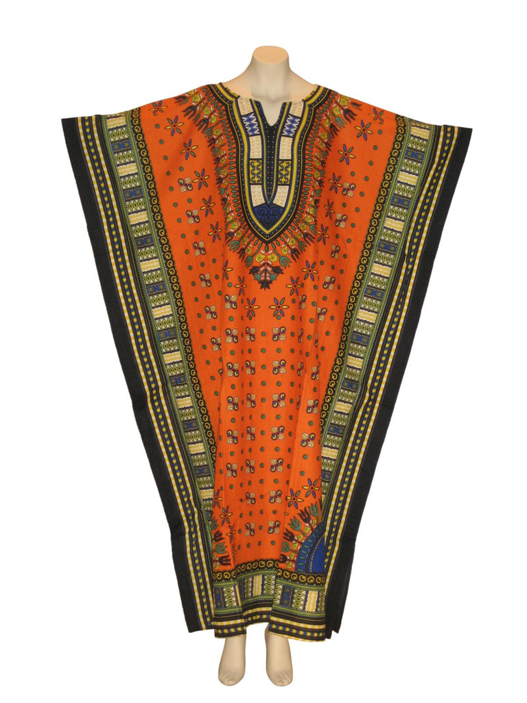 Traditional Thailand Print Kaftan Caftan Dress with Zipper : Orange