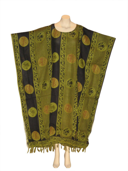 African Adrinka Kaftan Caftan Dress : Olive