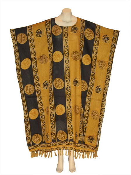 African Adrinka Kaftan Caftan Dress : Mustard