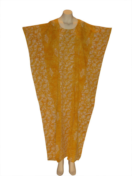 Tie-Dye Herbal Vine Kaftan Caftan Dress : Yellow