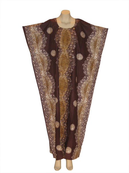 African Shells Patterned Kaftan Caftan Dress : Maroon