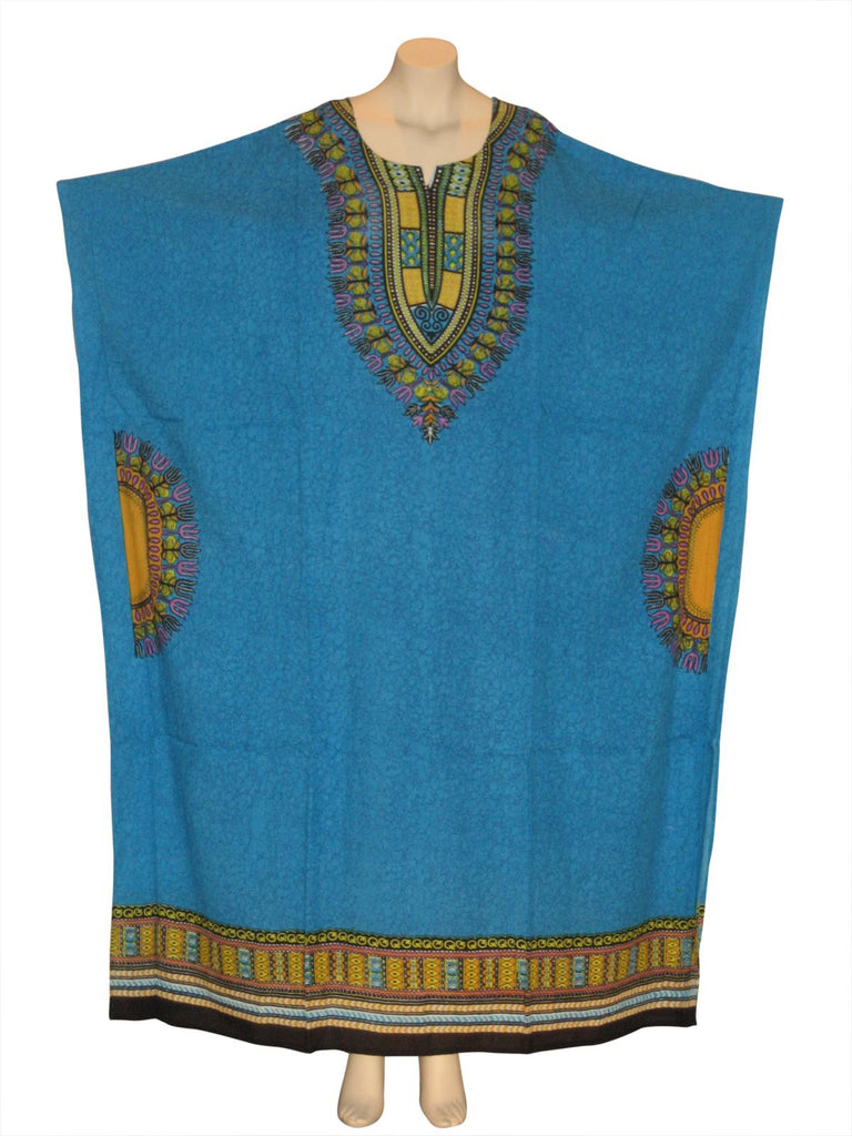 Traditional Print Kaftan Caftan Dress : Light Blue