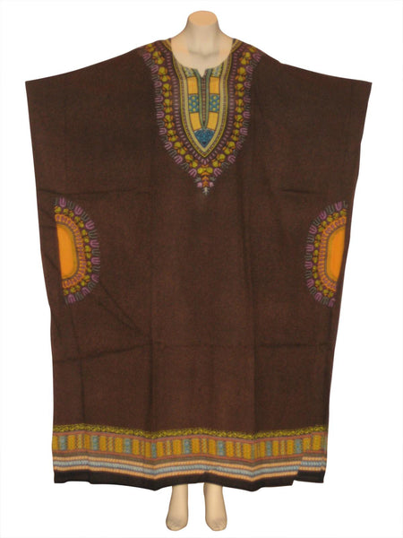 Traditional Print Kaftan Caftan Dress : Dark Brown