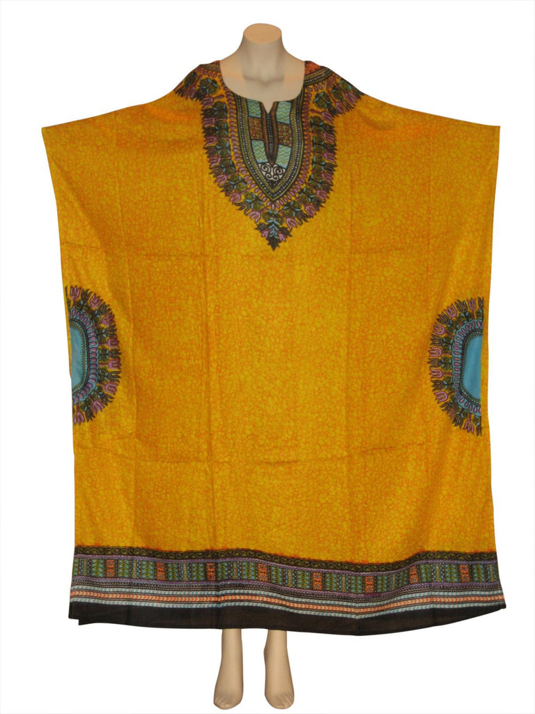 Traditional Print Kaftan Caftan Dress : Yellow