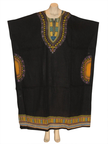Traditional Print Kaftan Caftan Dress : Black
