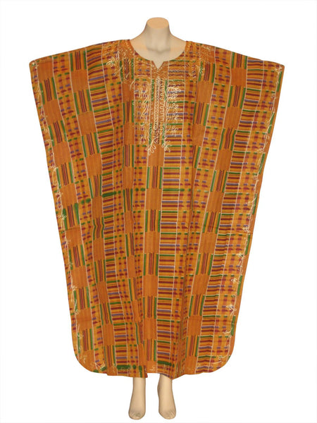 Kente Print Kaftan Caftan Dress with Scarf Style #1