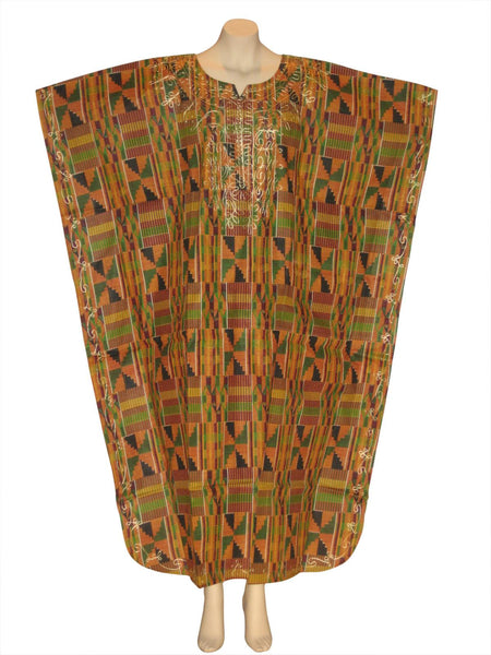 Kente Print Kaftan Caftan Dress with Scarf Style #2
