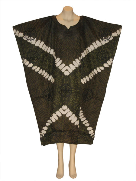 Elephant Printed Kaftan Caftan Dress : Olive