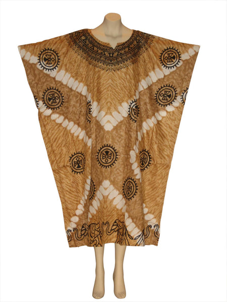 Elephant Printed Kaftan Caftan Dress : Beige