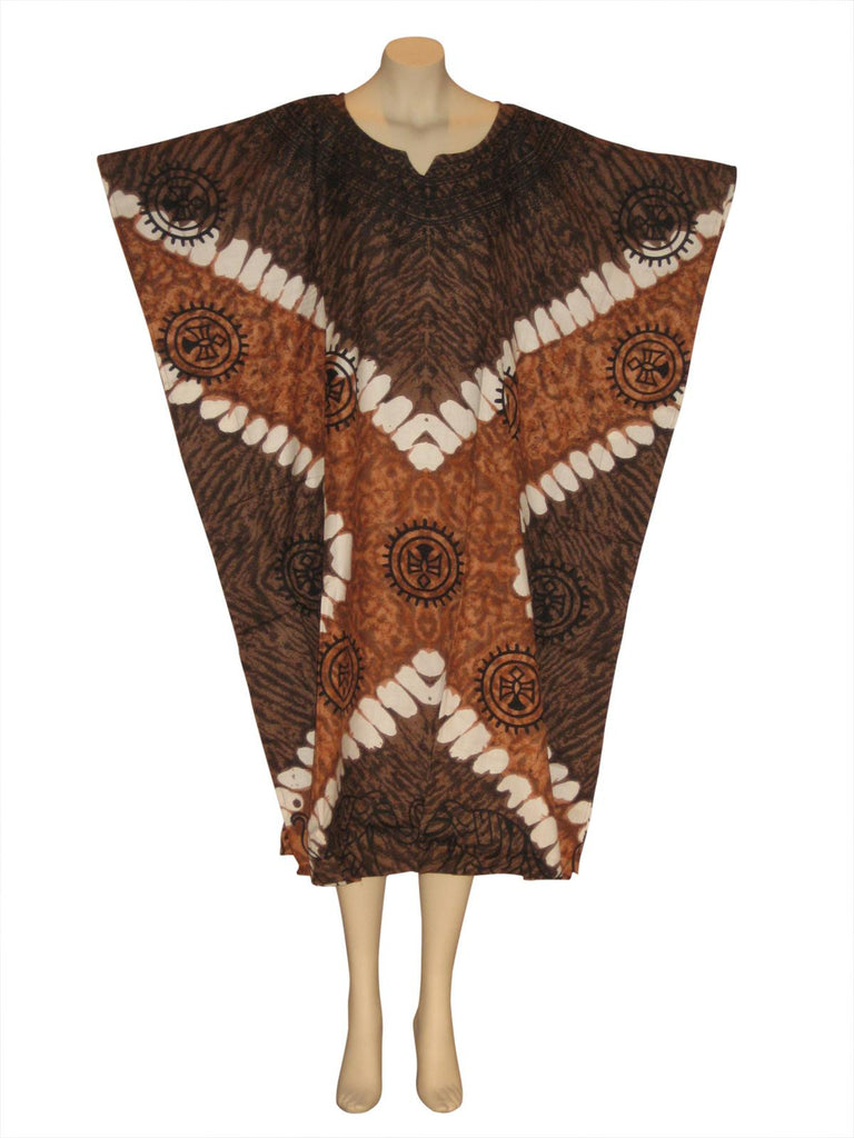 Elephant Printed Kaftan Caftan Dress : Brown