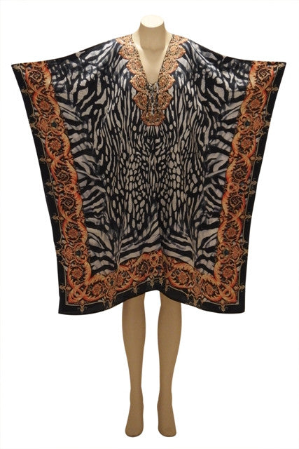 Monochrome with a Splash of Royalty Embellished Digital Print Kaftan Dress KC2020552