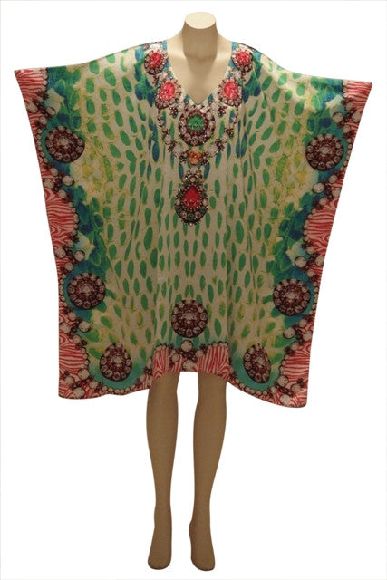 Embellished Kaftan Digital Print Dress KC169