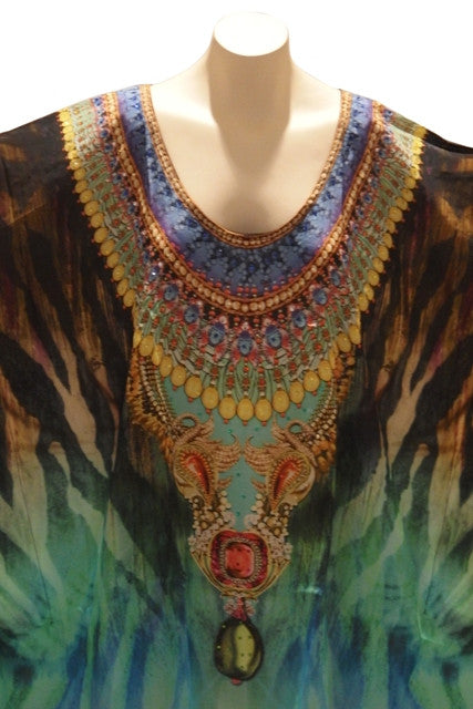Embellished Kaftan Digital Print Design KC1057