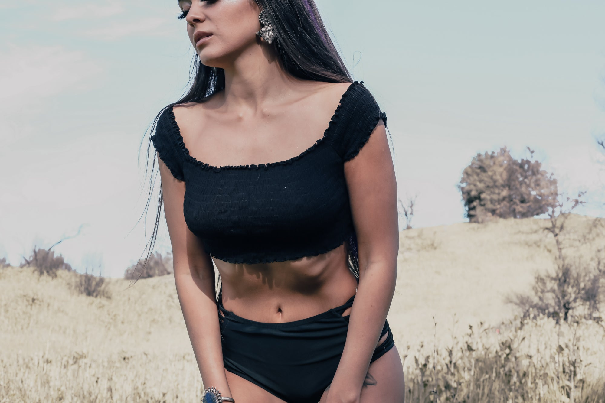 Black Festival Crop Top; Little black top