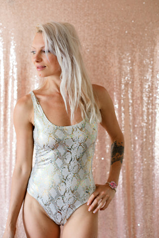 White Metallic Snakeskin Bodysuit; Gold and Silver Metallic Bodysuit; White Festival Bodysuit - Blonde Vagabond